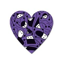 Playful abstract art - purple Heart Magnet