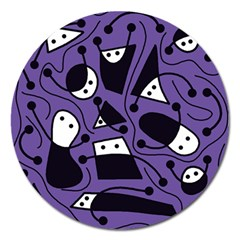 Playful abstract art - purple Magnet 5  (Round)