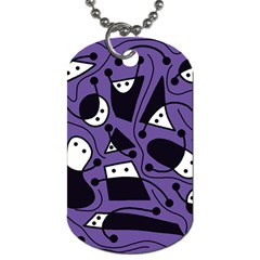 Playful abstract art - purple Dog Tag (Two Sides)