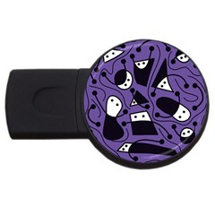 Playful abstract art - purple USB Flash Drive Round (4 GB)