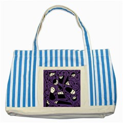 Playful abstract art - purple Striped Blue Tote Bag