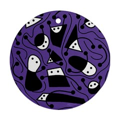 Playful abstract art - purple Round Ornament (Two Sides)