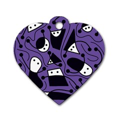 Playful abstract art - purple Dog Tag Heart (One Side)