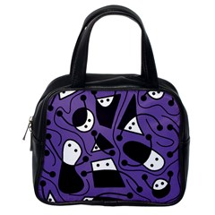 Playful abstract art - purple Classic Handbags (One Side)