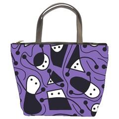 Playful abstract art - purple Bucket Bags