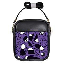 Playful abstract art - purple Girls Sling Bags