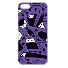 Playful abstract art - purple Apple Seamless iPhone 5 Case (Clear)