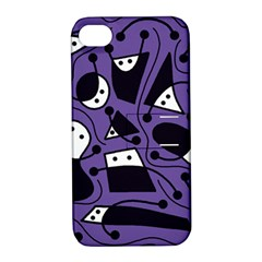 Playful abstract art - purple Apple iPhone 4/4S Hardshell Case with Stand