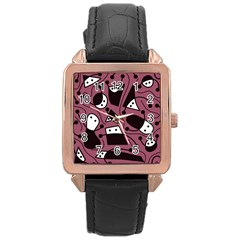 Playful abstraction Rose Gold Leather Watch