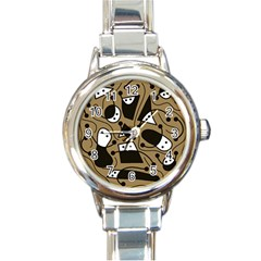 Playful abstract art - Brown Round Italian Charm Watch