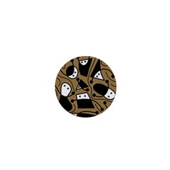 Playful abstract art - Brown 1  Mini Buttons