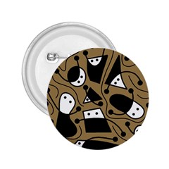 Playful abstract art - Brown 2.25  Buttons