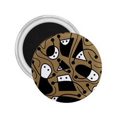 Playful abstract art - Brown 2.25  Magnets