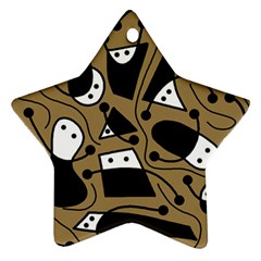 Playful abstract art - Brown Ornament (Star)