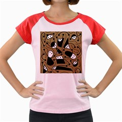 Playful abstract art - Brown Women s Cap Sleeve T-Shirt