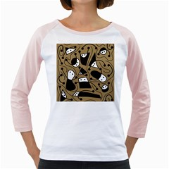 Playful abstract art - Brown Girly Raglans