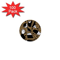 Playful abstract art - Brown 1  Mini Buttons (100 pack)