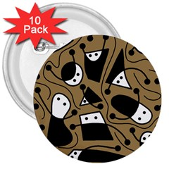 Playful abstract art - Brown 3  Buttons (10 pack)