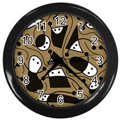 Playful abstract art - Brown Wall Clocks (Black)