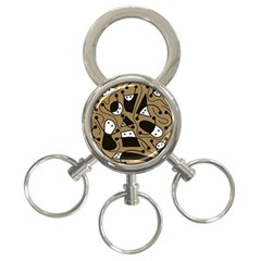 Playful abstract art - Brown 3-Ring Key Chains