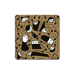 Playful abstract art - Brown Square Magnet
