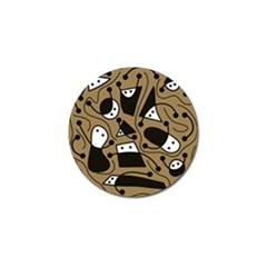 Playful abstract art - Brown Golf Ball Marker