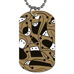 Playful abstract art - Brown Dog Tag (Two Sides)