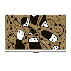 Playful abstract art - Brown Business Card Holders