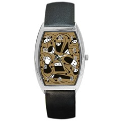 Playful abstract art - Brown Barrel Style Metal Watch