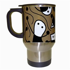 Playful abstract art - Brown Travel Mugs (White)