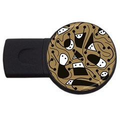 Playful abstract art - Brown USB Flash Drive Round (4 GB)