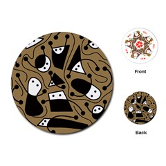 Playful abstract art - Brown Playing Cards (Round)