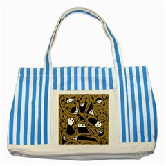 Playful abstract art - Brown Striped Blue Tote Bag