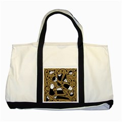 Playful abstract art - Brown Two Tone Tote Bag