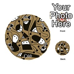 Playful abstract art - Brown Playing Cards 54 (Round)