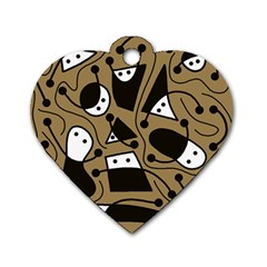Playful abstract art - Brown Dog Tag Heart (One Side)