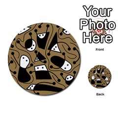 Playful abstract art - Brown Multi-purpose Cards (Round)