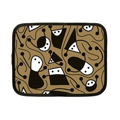 Playful abstract art - Brown Netbook Case (Small)