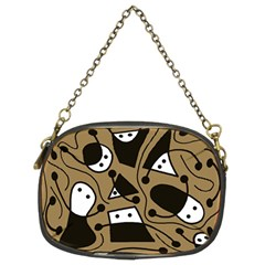 Playful abstract art - Brown Chain Purses (Two Sides)