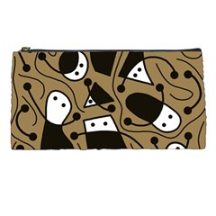 Playful abstract art - Brown Pencil Cases