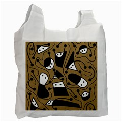 Playful abstract art - Brown Recycle Bag (One Side)
