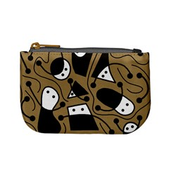 Playful abstract art - Brown Mini Coin Purses