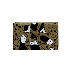 Playful abstract art - Brown Cosmetic Bag (Small)