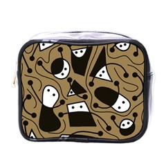 Playful abstract art - Brown Mini Toiletries Bags