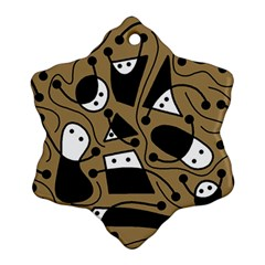 Playful abstract art - Brown Ornament (Snowflake)