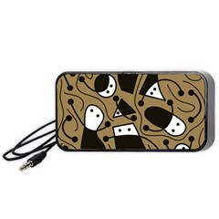 Playful abstract art - Brown Portable Speaker (Black)