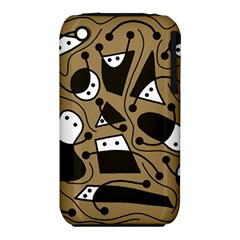 Playful abstract art - Brown Apple iPhone 3G/3GS Hardshell Case (PC+Silicone)