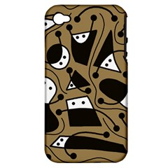 Playful abstract art - Brown Apple iPhone 4/4S Hardshell Case (PC+Silicone)