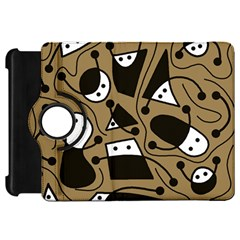 Playful abstract art - Brown Kindle Fire HD Flip 360 Case
