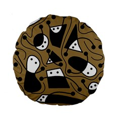 Playful abstract art - Brown Standard 15  Premium Round Cushions